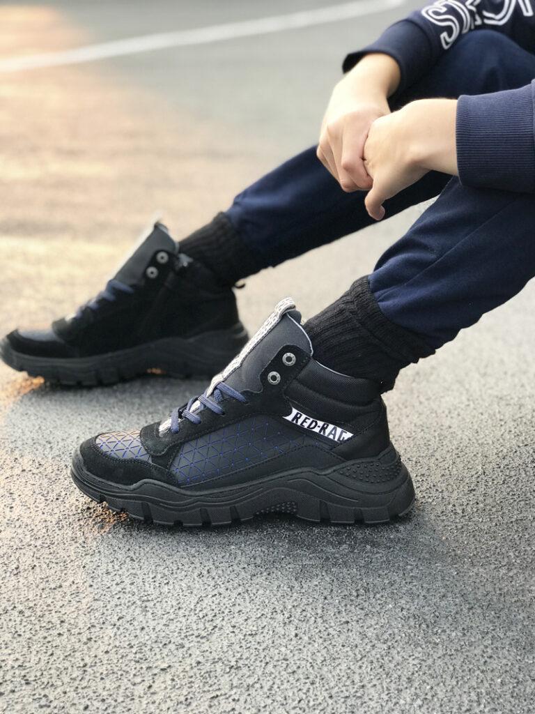 redrag sneakers, redrag, HOGE BLAUW ZWARTE SNEAKERS   RED-RAG 13289, stoere kinderschoenen, stoere jongensschoenen
