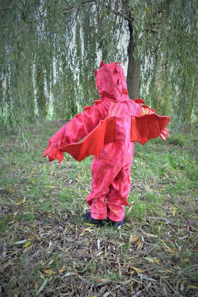 draken kostuum, verkleedkleding jongen, rode draken kostuum