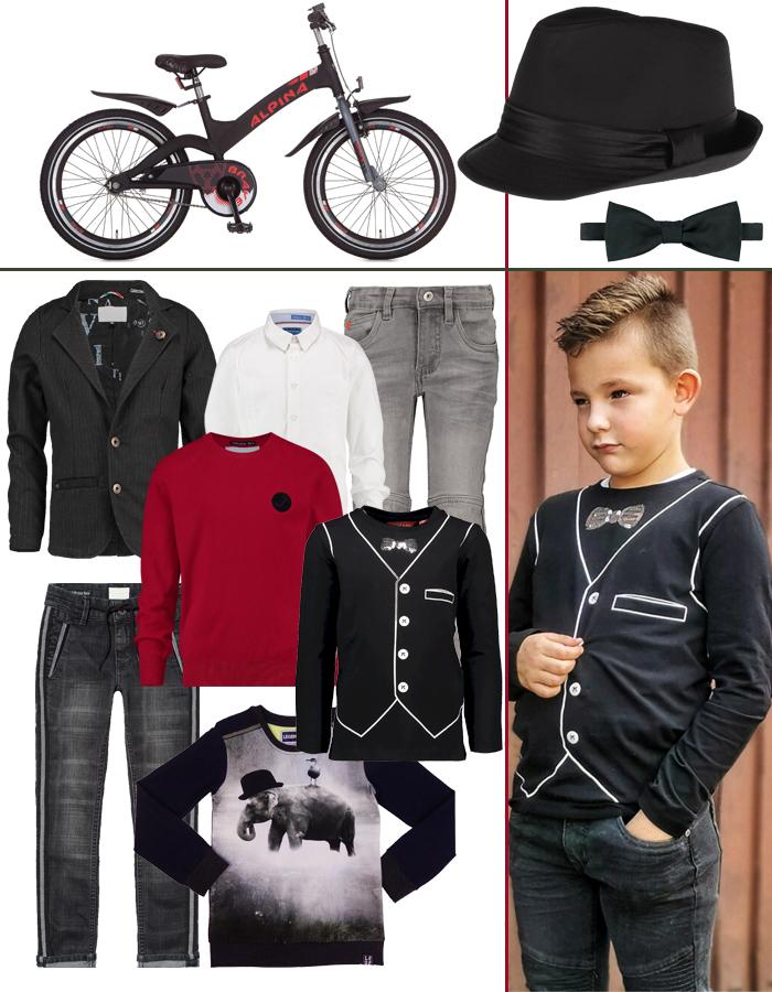 feestkleding jongens, boyslabel, vingino, zwart hoedje jongenm vlinderstrikje jongen, stoere fiets jongen