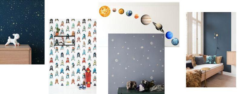 behang ruimte kamer, astronauten behang, raketbehang