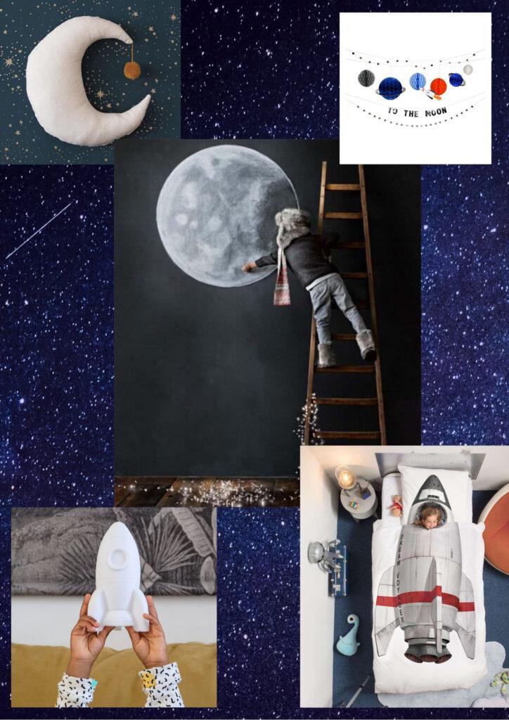 kinderkamer ruimte, kinderkamer ruimtevaart, ruimte thema, heelal thema, jongenskamer