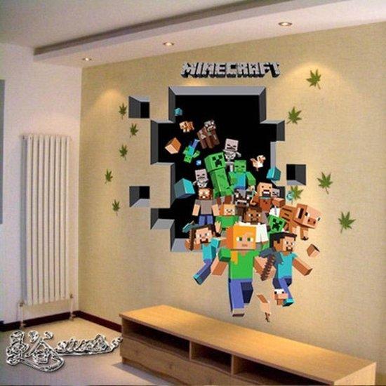 minecraft muursticker, minecraft jongenskamer, minicraft kinderkamer