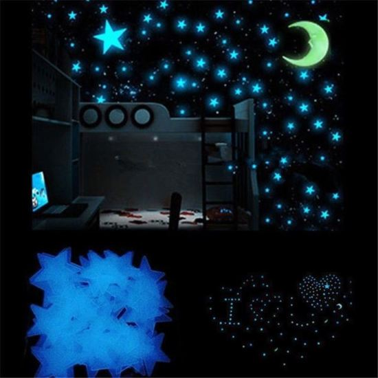 glow in the dark sterren en maan, ruimte kamer idee, glowinthedark sterren, sterren muurstickers