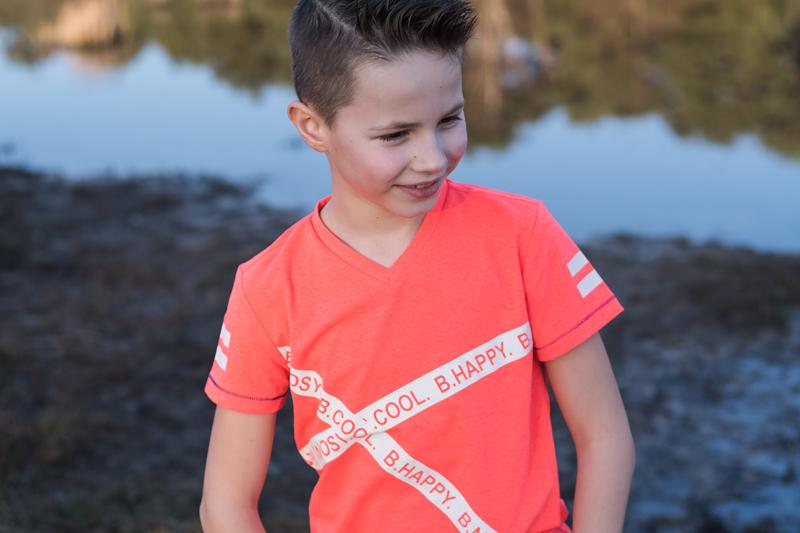 cool shirt jongen, bnosy shirt, b.nosy jongenskleding, neon oranje shirt jongen, b.nosy. jongenskleding