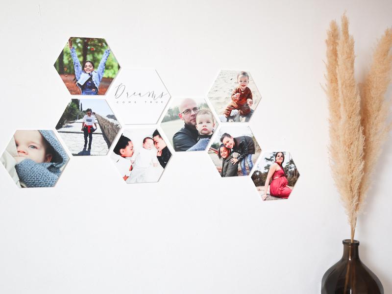fotocollage voor aan de muur, fotocollage, hexagon, hexagons voor aan de muur, fotocadeau