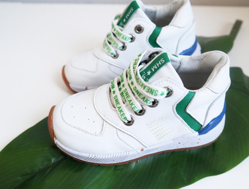wit met groene kinderschoenen, goede kindersneakers, shoesme sneakertjes, goede kindersneakers, kindersneakers, goede kinderschoenen