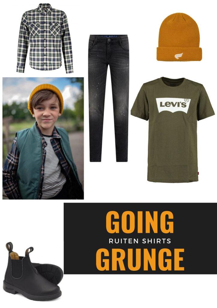 going grunge, kindermode trend, kidsfashion trend, cargo broek, geruit overhemd jongens, jongenskleding trends, jongenskleding styling, jongensmodeblog boyslabel