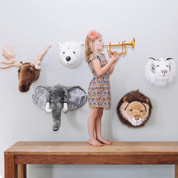 dierenhoofden muur, pluche dierenhoofd, muurdecoratie dierenhoofd