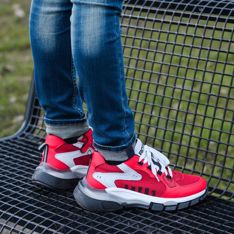 rode sneakers jongens, rode kindersneakers, rode kindersneakers
