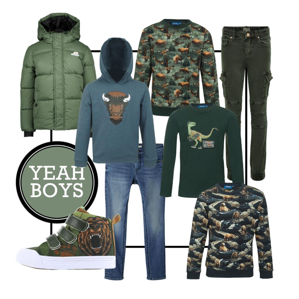 Boyslabel, shopping collage, groene jongenskleding, jongenskleding met dierenprints, jongenskleding winter 2021, jongenskleding herfst winter