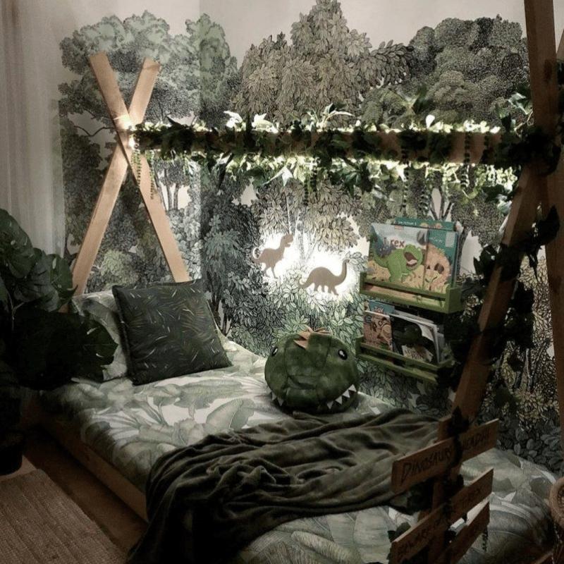jungle kamer, jungle kinderkamer, jungle kamer maken, jungle jongenskamer, jungle themakamer, voorbeelden jungle kamer, jungle room, kiesroom, jungle kiesroom