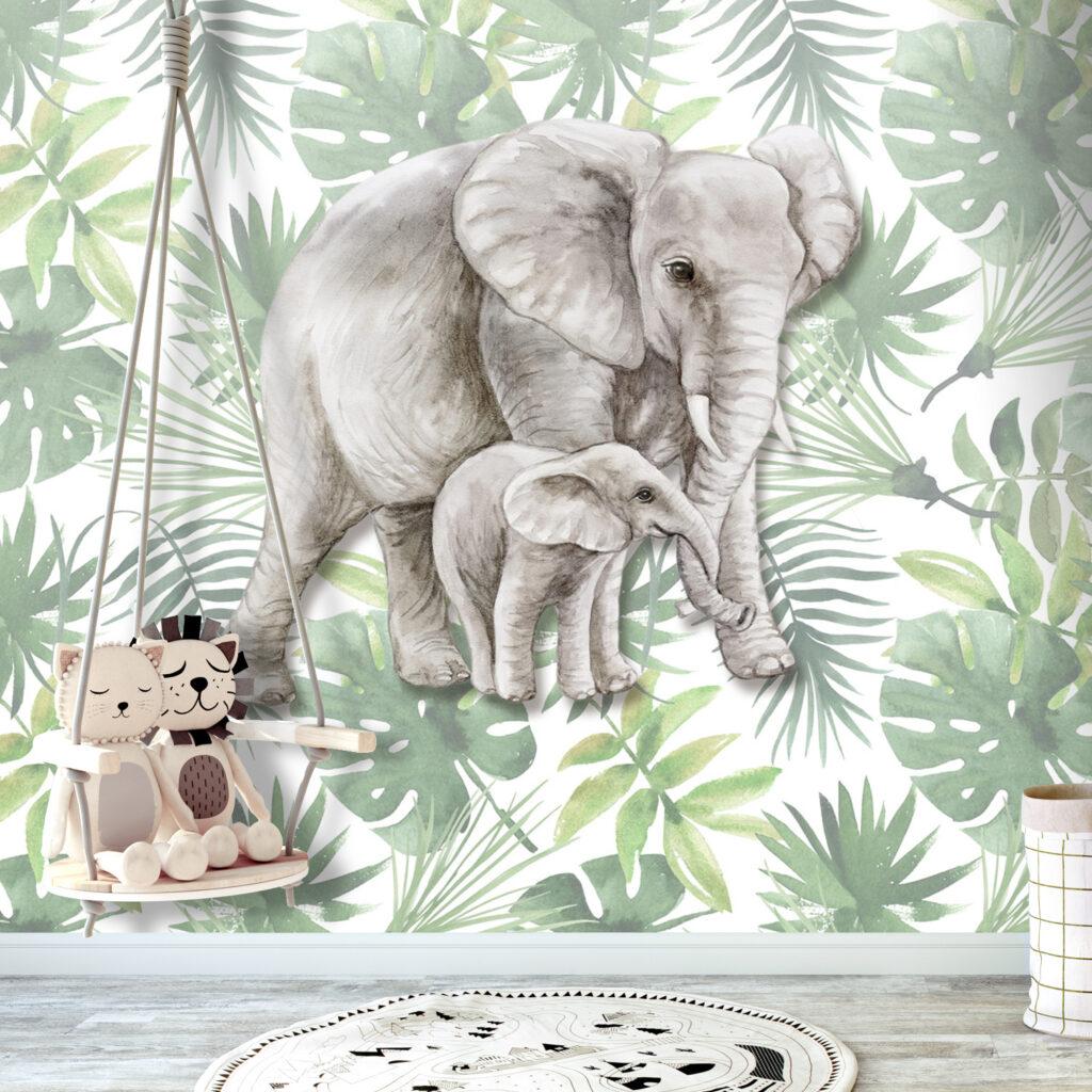 jungle behang, jungle kinderbehang, dierenbehang, olifanten behang, jungle, jungle kinderkamer, hoe maak je een jungle kamer